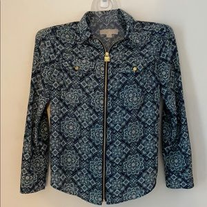 Michael Kors Zip-Up Paisley Blouse Size M